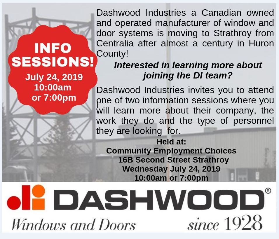 Dashwood Industries Information Session July 24, 2019 10 am session