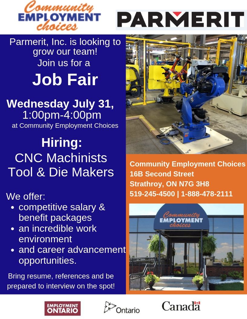 Parmerit Job Fair - Calling all CNC Machinists and Tool & Die Makers!